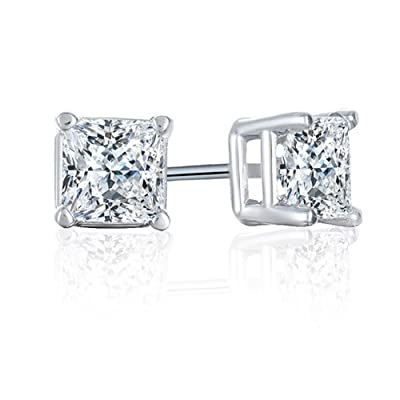 1/6 Carat Diamond 14K White Gold Stud earrings (I-J, I3): Jewelry