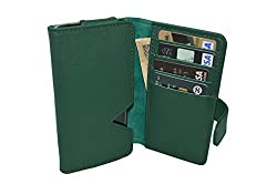 TOTTA PU Leather Wallet Pouch with Card Holder For Intex Aqua Life V - Green