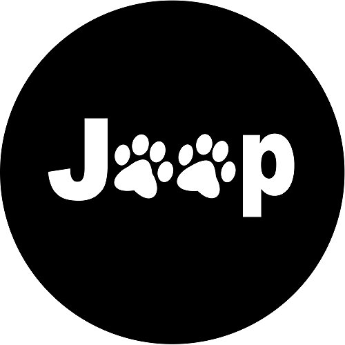 Moonet Jeep RV Liberty Wrangler Spare Wheel Tire Cover Paws Tire Cover For Jeep R16 With White Jeep Paws Logo (Tire Cover White compare prices)
