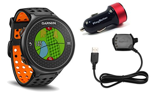 garmin-approach-s6-orange-golf-gps-watch-bundle-with-playbetter-usb-car-charge-adapter