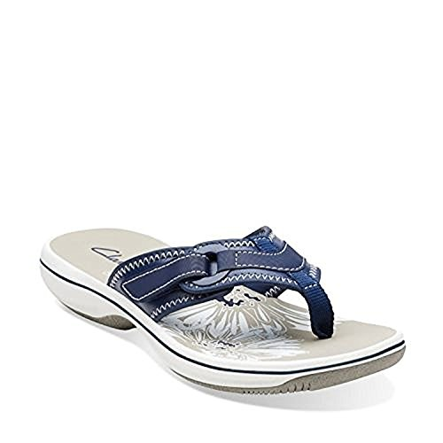 Clarks Breeze Mila Womens Navy Sandal 8-MEDIUM (Clarks Sea Breeze Flip Flops compare prices)
