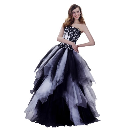 JSSHAN Women's Strapless Embroidery Tiered Tulle Ball Gown Quinceanera Dress Size US2/UK6/EUR34 Color Black-White