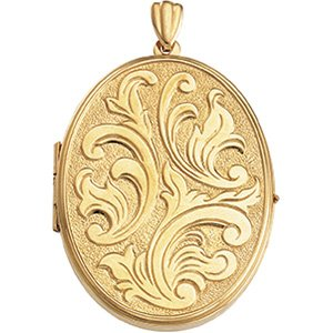 14K Yellow Gold 43.00X32.00 MM Oval Large Embossed Locket Ring Size 6