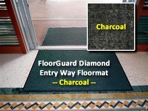 "Waterhog Style Entrance Mat - ""Floorguard Diamond"" - 6' X 8' - Charcoal - Indoor Or Covered Outdoor - Commercial Or Residential front-32720"
