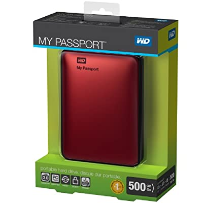 WD My Passport 500GB Portable External Hard Drive Storage USB 3.0 Red (WDBKXH5000ARD-NESN)