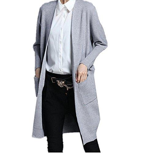 Maglione lavorato a maglia Ladies' giacca in maglia sciolto manica lunga Cardigan , gray , xl