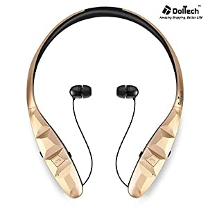 Bluetooth Headphones, DolTech 970S Wireless Retractable Stereo Neckband Headset Sweatproof Sport Earbuds with Mic for iPhone Android and other Bluetooth Enable Device