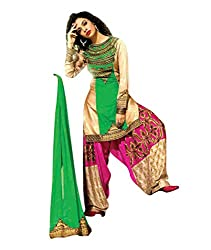 Rudra Textile Women's Green Georgette Punjabi Suit
