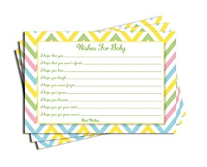 Baby Shower Chevron Wishes for Baby Cards Neutral Girl Boy Games (50-cards)