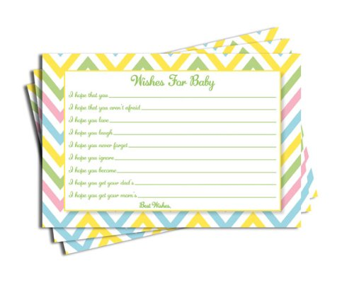 All Ewired Up Baby Shower Chevron Wishes for Baby Cards Neutral Girl Boy Games