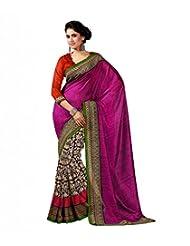 Pink Orange Art Bhahalpur Silk Saree With Unstitched Blouse 109A By Roop Kashish
