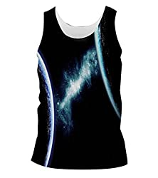 Snoogg Deep Space Mens Casual Beach Fitness Vests Tank Tops Sleeveless T shirts