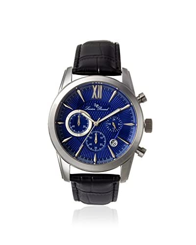 Lucien Piccard Men's LP-12356-03 Mulhacen Chronograph Genuine Leather Black/Blue Stainless Steel Watch