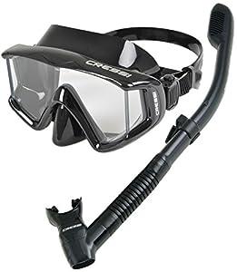 Cressi Panoramic Wide View Mask Dry Snorkel Set, All Black