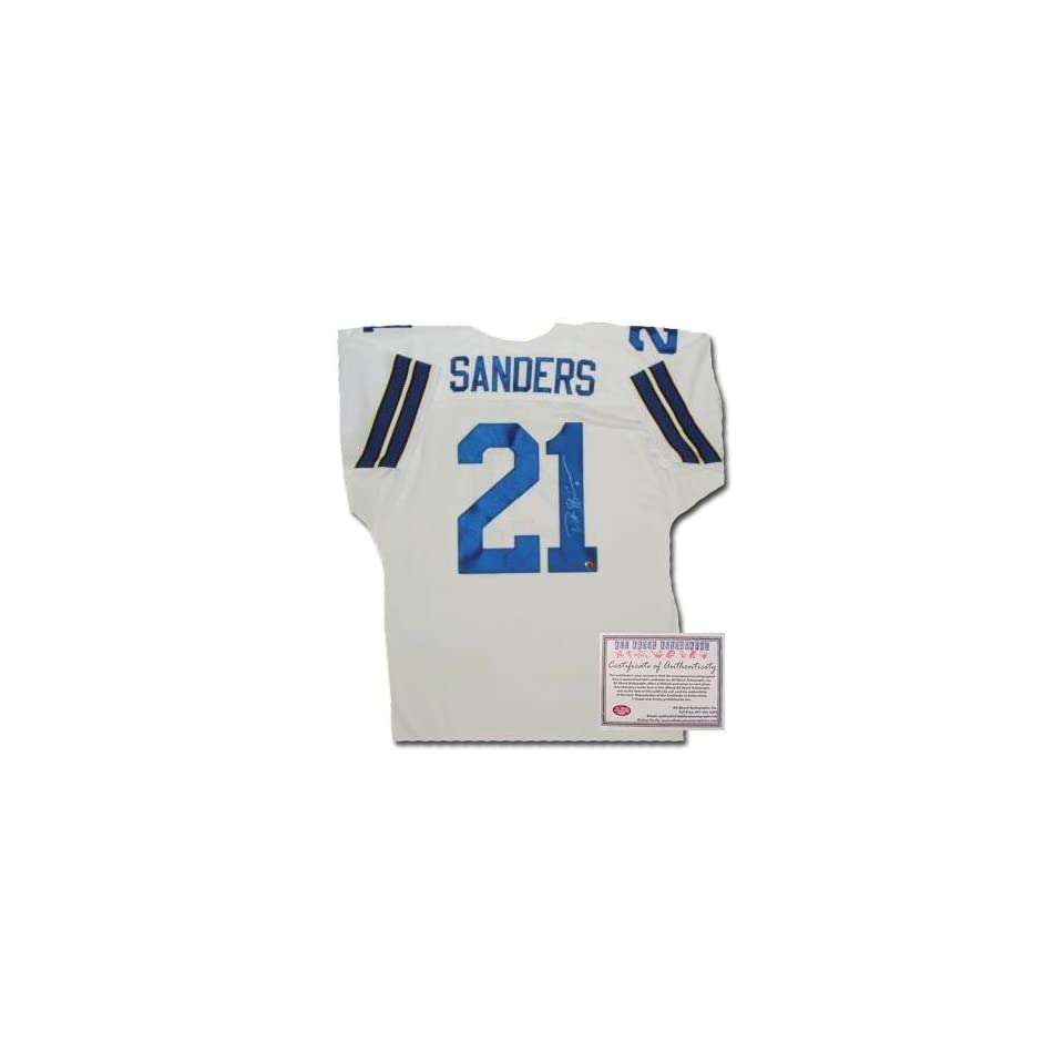 Deion Sanders Autographed/Hand Signed Custom White Jersey