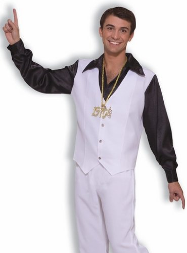 Mens 70s Disco King Outfit White Suit Halloween