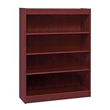 Lorell 4-Shelf Panel Bookcase, 36 by 12 by 48-Inch, Mahogany