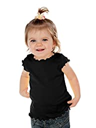 Kavio! Infants Lettuce Edge Scoop Neck Cap Sleeve Top Black 24M