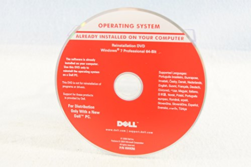 Dell Operating System Reinstallation DVD Driver Microsoft Windows 7 Professional 64 Bit Version-PC Software Program Installation Disc Year 2009 Part Number HWKR6 (Windows 7 Operating System Disc compare prices)