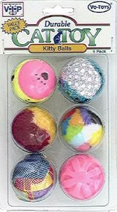 Vo-Toys Cat Ball Value Pack 6 pieces with Clam Shell Design on One Side Cat Toy