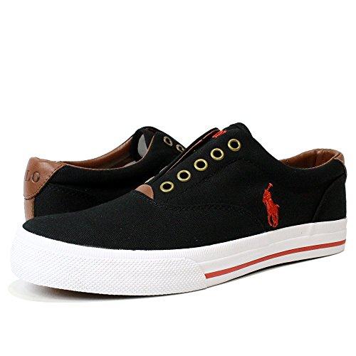 ラルフ スリッポン POLO RALPH LAUREN (ポロ ラルフローレン) メンズ キャンバススリッポン ポニー 刺繍 スニーカー 靴 シューズ VITO (BLACK ブラック) 816153815001 (28.5cm)