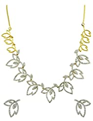 Leaf Design CZ Necklace Set In Golden Silver Polish