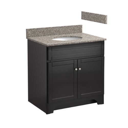Foremost COEAT3021-8B 30-Inch Columbia Bathroom Vanity Combo with Burlywood Granite Top, Pre-Attached Undermount Sink and 8-Inch Centers, Espresso