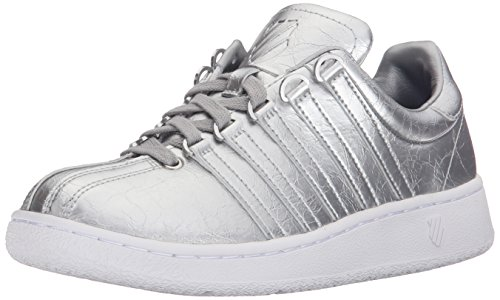 K-Swiss Women's Classic VN Aged Foil Athletic Shoe, Silver/White, 9.5 M US