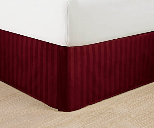 """Wrinkle Free - Egyptian Quality Stripe Bed Skirt - Pleated Tailored 14"""" Drop - All Sizes And Colors , Queen , Burgundy front-965211"""