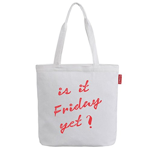 "So 'each da donna è venerdì lettere Borsa Borsa Shopper Shopping Carrier Bag White,14.2 "" x 15.5 """