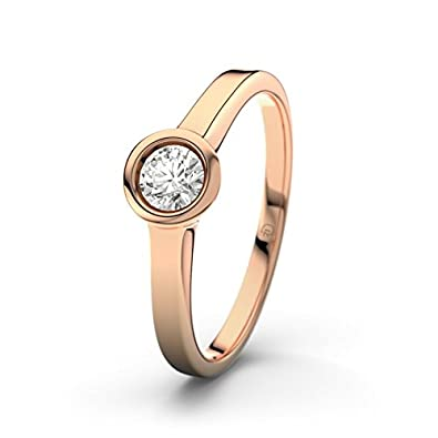 21DIAMONDS Women's Ring Pune VS2 0.2 ct Brilliant Cut Diamond Engagement Ring 14ct Rose Gold Engagement Ring