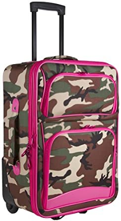 Ever Moda Pink Green Camo 20-inch Expandable Carry On Rolling Luggage