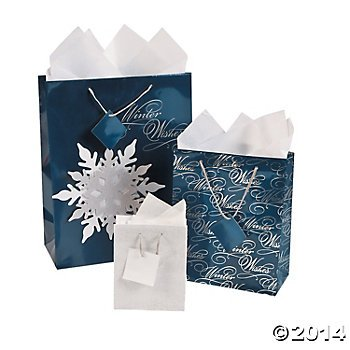 Winter Wishes Gift Bags - 1 Dz - 12 Bags Total - Christmas Gift Bags Holiday