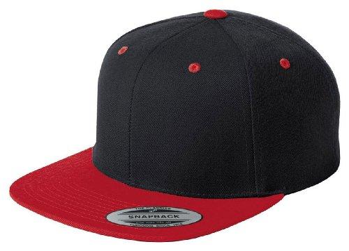 Sport-Tek Stc19 Flat Bill Snapback Cap - Black/True Red - Osfa front-655524