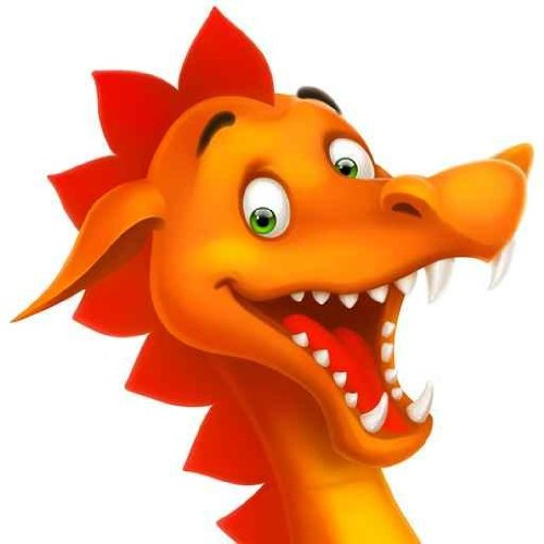 Cute Smiling Happy Dragon As Cartoon Or Toy Isolated On White Wall Decal - 18 Inches H X 18 Inches W - Peel And Stick Removable Graphic front-774097