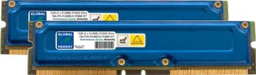 1GB (2 x 512MB) RAMBUS PC600 184-PIN RDRAM RIMM MEMORY RAM KIT FOR PC DESKTOPS/MOTHERBOARDS