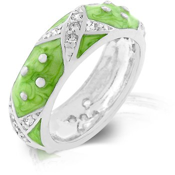 White Gold Rhodium Bonded and Hand Applied Light Green Enamel Overlay Eternity Ring with Handset Clear CZ Xs and Silvertone Polk-a-dots in Silvertone