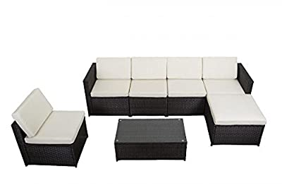 Wicker patio furniture set, 7 piece for more than a yard or outdoor pool and sun deck