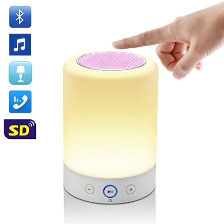 LEDMO Bluetooth Speaker, LED Wireless Bluetooth Speaker with Smart Touch Lamp, Muisc Player/ Hands-free/ Bluetooth Speaker/ phone/ TF Card Supported, 4W Night Light for Kids - Pink