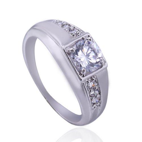 C-Princessリング 指輪 ホワイトゴールドメッキ コーティン ラインストーン レディース 女性 アクセサリー ジュエリー ウェディング エンゲージリング お洒落 (11)