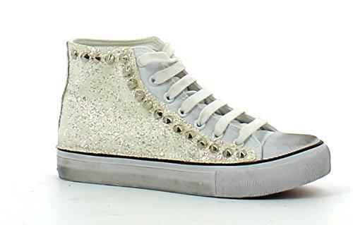 A304 FRANCESCO MILANO Sneaker donna stile Slipon con paiette (40, Platino)