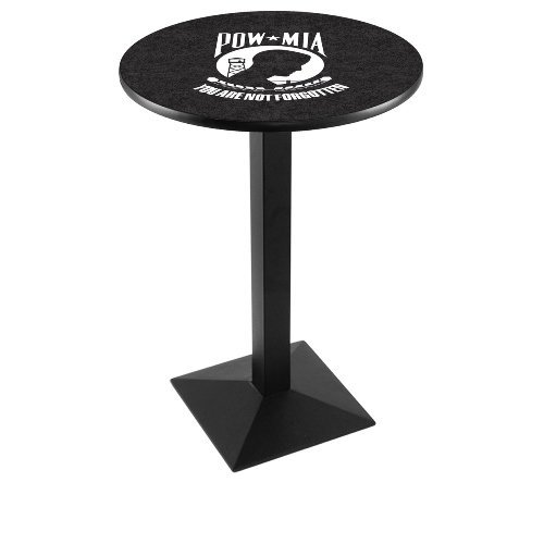 "Holland Bar Stool Co. L217C36 42"" Tall Chrome United States Military Air Force Licensed Pub Table, Black, 28"""