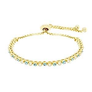 Silver Rose Gold or Gold Sterling Silver Cubic Zirconia Enamel Evil Eye Slider Tennis Bracelet (Gold)
