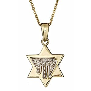 """14K Yellow Gold Diamond Jewish Chai in Star of David Pendant Necklace 16"""" (0.13cttw, SI Clarity, H Color)"""