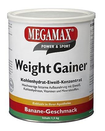 Megamax Weight Gainer Banane 1,5 kg mit nur 0,5% Fett