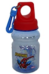 Marvel Spider-man Bottle - easily portable bottle with keychain zipper pull hook to attach to your lunchpal or backpack