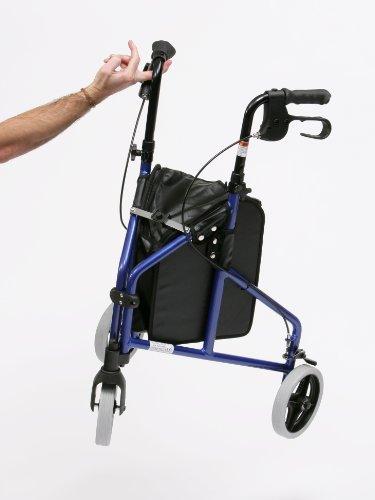 Deambulateur leger en aluminium avec 3 roues et sac de rangement en vinyle