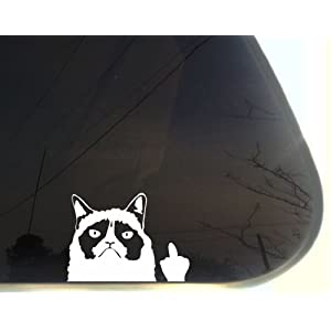 "Grumpy Cat Finger - 5 1/8"" x 3 3/4"" funny die cut vinyl window decal (NOT PRINTED)"