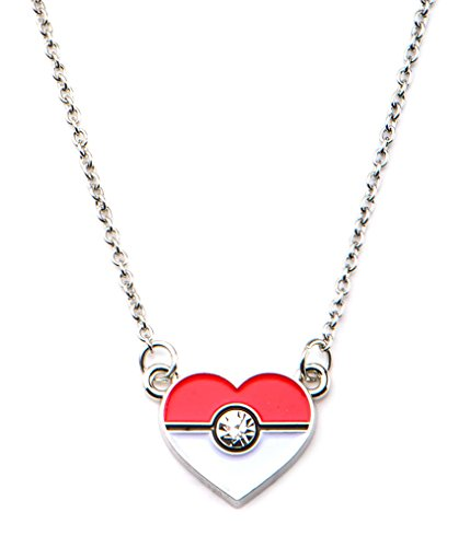 [Pokemon Woman's Poke Ball Heart Shape Pendant with Chain Necklace Stainless Steel] (Slowpoke Costume)