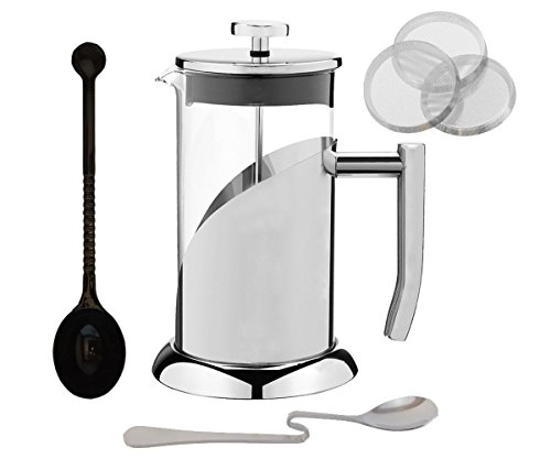 Best French Press Coffee Maker Set - Stainless Steel French Coffee Press with 3 Replacement ...